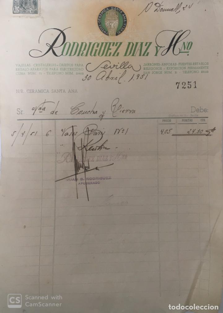 CARTA COMERCIAL CERÁMICA SANTA ANA . SEVILLA AÑO 1951 (Coleccionismo - Documentos - Cartas Comerciales)