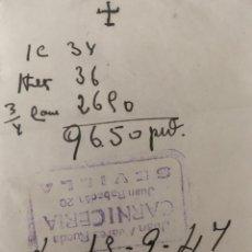 Cartas comerciales: ANTIGUO TICKET CARNICERÍA JUAN ÁLVAREZ . SEVILLA AÑO 1944 . Lote 194782382