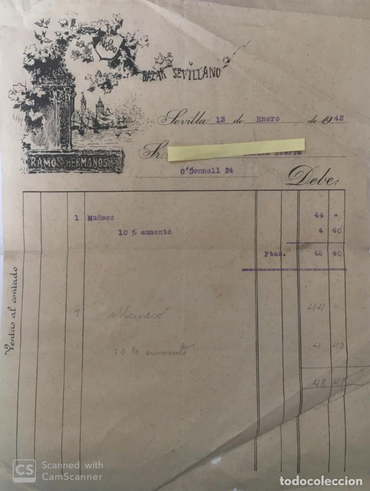 CARTA COMERCIAL BAZAR SEVILLANO . SEVILLA AÑO 1942 (Coleccionismo - Documentos - Cartas Comerciales)
