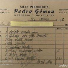Cartas comerciales: CARTA COMERCIAL PERFUMERÍA PEDRO GÓMEZ . SEVILLA AÑO 1959. Lote 194782502