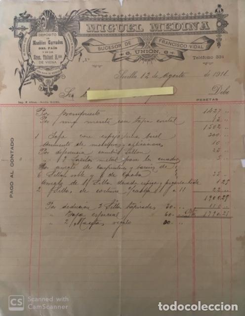 CARTA COMERCIAL MUEBLES MIGUEL MEDINA SUCESOR DE FRANCISCO VIDAL . SEVILLA AÑO 1911 (Coleccionismo - Documentos - Cartas Comerciales)