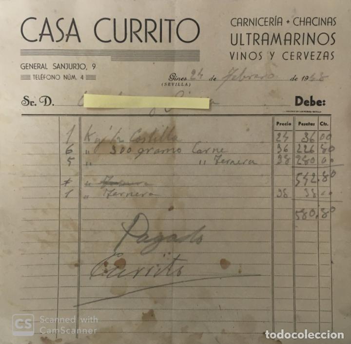 CARTA COMERCIAL CARNICERÍA ULTRAMARINOS CASA CURRITO . GINES ( SEVILLA ) AÑO 1948 (Coleccionismo - Documentos - Cartas Comerciales)