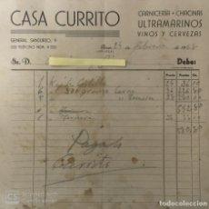 Cartas comerciales: CARTA COMERCIAL CARNICERÍA ULTRAMARINOS CASA CURRITO . GINES ( SEVILLA ) AÑO 1948. Lote 194782695