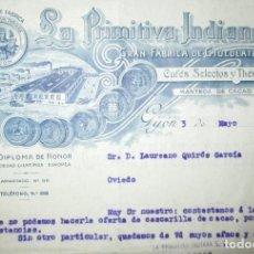 Cartas comerciales: LA PRIMITIVA INDIANA. FÁBRICA DE CHOCOLATES DE GIJÓN. CARTA COMERCIAL DE 1941.. Lote 194879271