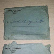 Cartas comerciales: LOTE DOS SOBRES DE CARTA COLEGIO SAN FERNANDO, HH.MARISTAS, SEVILLA. Lote 194911848