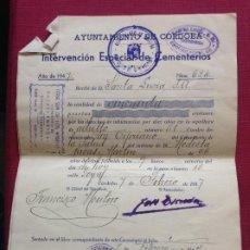 Cartas comerciales: DOCUMENTO AYUNTAMIENTO DE CÓRDOBA. INTERVENCIÓN ESPECIAL DE CEMENTERIOS 1947. Lote 195051630
