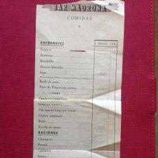 Cartas comerciales: RECIBO BAR MADRONAS COMIDAS. Lote 195051696