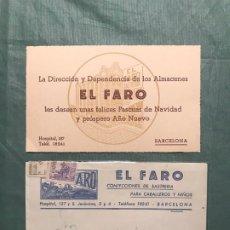 Cartas comerciales: BARCELONA, SASTRERIA EL FARO - FELICITACIÓN NAVIDEÑA - AÑOS 50'S - CON SOBRE FRANQUEADO. Lote 195330342