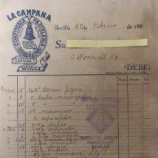 Lettere commerciali: CARTA COMERCIAL CONFITERÍA PASTELERÍA LA CAMPANA . SEVILLA AÑOS 30. Lote 195367940