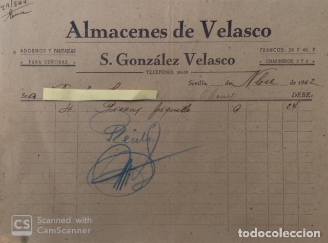 CARTA COMERCIAL ALMACÉN DE VELASCO . ADORNOS Y FANTASÍA PARA SEÑORAS . SEVILLA 1942 (Coleccionismo - Documentos - Cartas Comerciales)