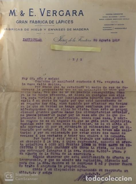 CARTA COMERCIAL FÁBRICA DE LÁPICES M & E. VERGARA . JEREZ DE LA FRONTERA AÑO 1917 (Coleccionismo - Documentos - Cartas Comerciales)