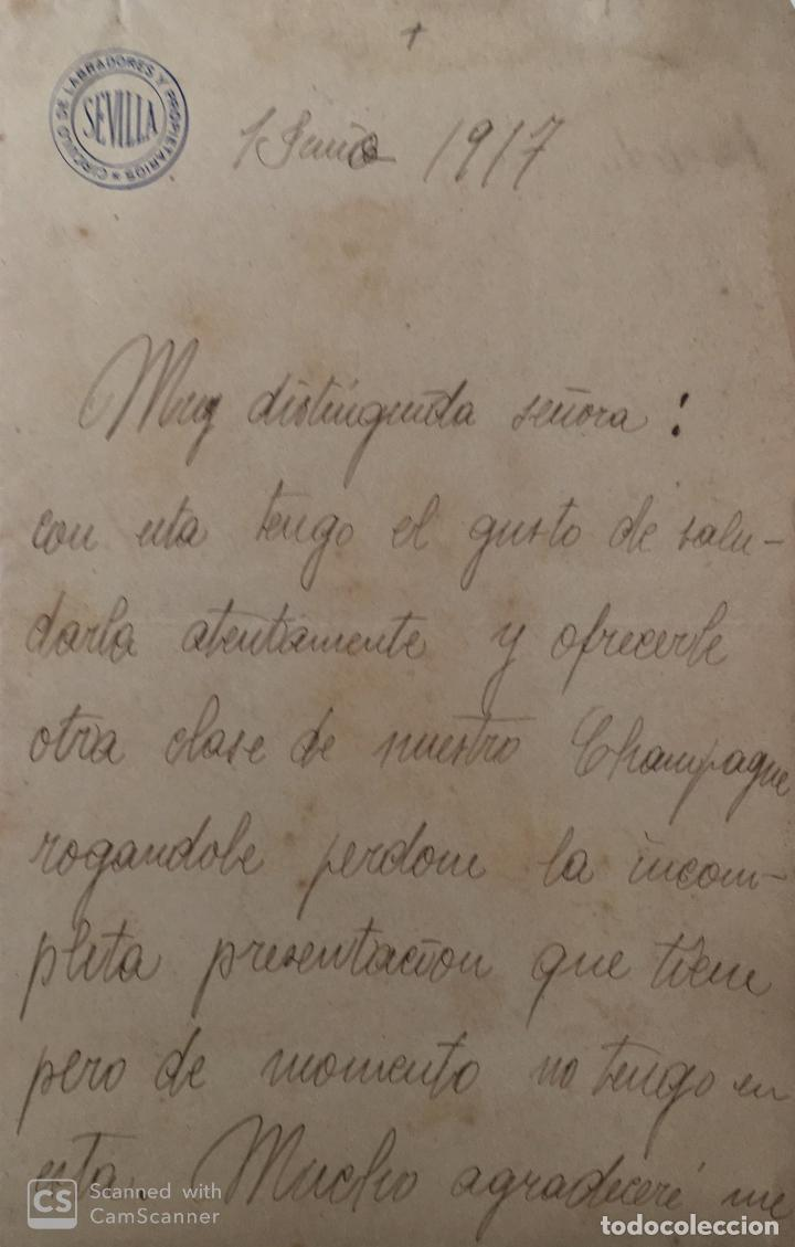 CARTA COMERCIAL CIRCULO DE LABRADORES . SEVILLA AÑO 1917 (Coleccionismo - Documentos - Cartas Comerciales)