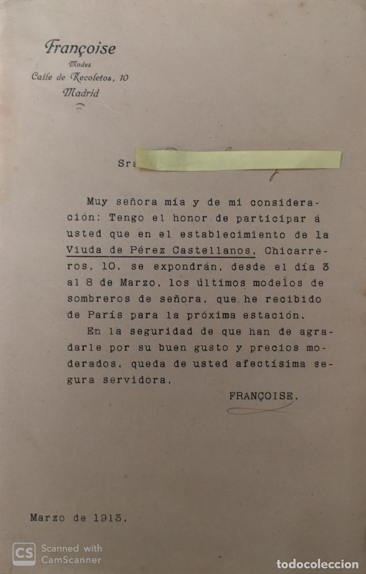 CARTA COMERCIAL MODAS FRANCOISE AÑO 1913 (Coleccionismo - Documentos - Cartas Comerciales)