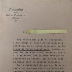 Cartas comerciales: CARTA COMERCIAL MODAS FRANCOISE AÑO 1913. Lote 195384830