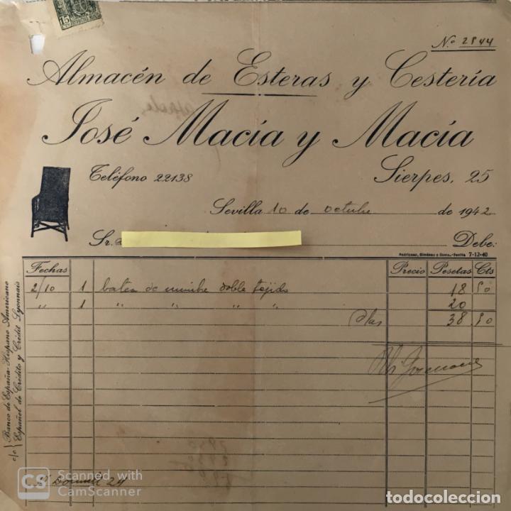 CARTA COMERCIAL ALMACÉN ESTERAS Y CESTERÍA MACÍA Y MACÍA . SEVILLA 1942 (Coleccionismo - Documentos - Cartas Comerciales)