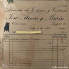 Cartas comerciales: CARTA COMERCIAL ALMACÉN ESTERAS Y CESTERÍA MACÍA Y MACÍA . SEVILLA 1942. Lote 195386568