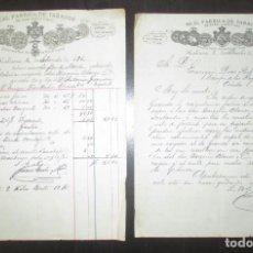 Cartas comerciales: REAL FÁBRICA DE TABACOS DE JUAN CUETO Y HNO. CARTA Y FACTURA DE 1000 TABACOS LA FLOR DE NAVES. 1895.. Lote 195410331