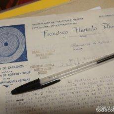 Cartas comerciales: FRANCISCO HURTADO ALONSO BARINAS MURCIA 1930 CAPACHOS ACEITES Y VINOS.. Lote 195420512