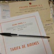 Cartas comerciales: VILLAMIL EIGUREN BILBAO CARTA Y TARIFA DE BIDONES 1953.. Lote 195428046