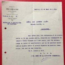 Cartas comerciales: COMPAÑÍA DE LOS CAMINOS DEL NORTE - FERROCARRIL - CARTA COMERCIAL - AÑO 1915. Lote 195542460
