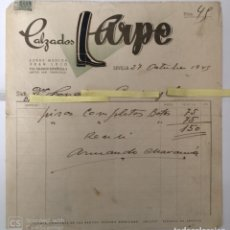 Lettres commerciales: CARTA COMERCIAL CALZADOS ARPE . SEVILLA AÑOS 40. Lote 195718011