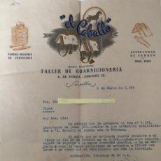 Lettres commerciales: CARTA COMERCIAL TALLER DE GUARNICIONARÍA EL CABALLO . SEVILLA AÑO 1955. Lote 195724603