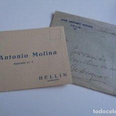 Cartas comerciales: HELLÍN. ALBACETE. JUAN ANTONIO MOLINA. CAPACHOS PARA PRENSAS. TARJETA PUBLICITARIA EN CARTA. 1934. Lote 195792903