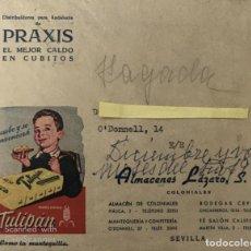 Lettere commerciali: ANTIGUO SOBRE PUBLICIDAD TULIPÁN. ALMACENES LÁZARO. SEVILLA. Lote 195933363