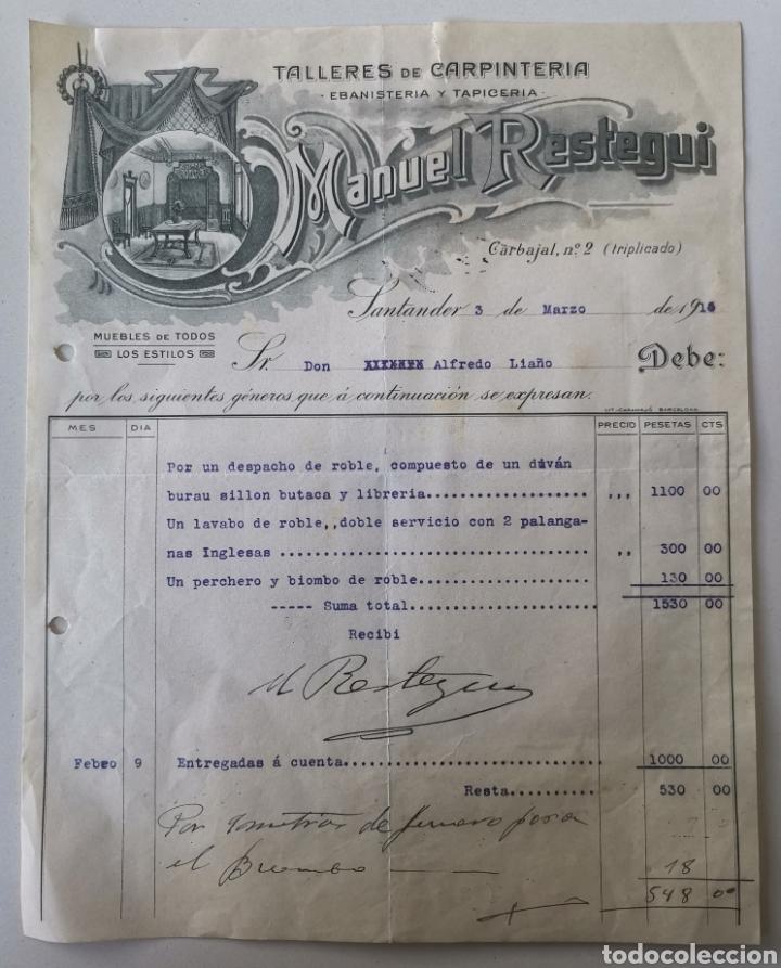 CARTA COMERCIAL TALLERES DE CARPINTERÍA EBANISTERÍA Y TAPICERÍA MANUEL RESTEGUI - SANTANDER AÑO 1915 (Coleccionismo - Documentos - Cartas Comerciales)