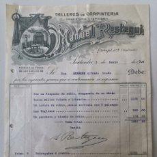 Cartas comerciais: CARTA COMERCIAL TALLERES DE CARPINTERÍA EBANISTERÍA Y TAPICERÍA MANUEL RESTEGUI - SANTANDER AÑO 1915. Lote 196199076