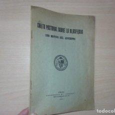 Cartas comerciales: CARTA PASTORAL SOBRE LA BLASFEMIA CON MOTIVO DEL ADVIENTO (1924) - TIPOGRAFÍA DE CARRERA. Lote 196357351