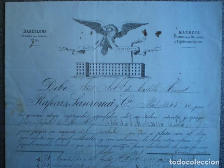 BARCELONA MANRESA DOS BONITAS CARTAS COMERCIALES AÑO 1884 RAFECA SANROMÁ FÁBRICA DE HILADOS (Coleccionismo - Documentos - Cartas Comerciales)