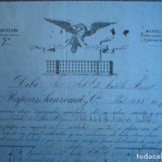Cartas comerciales: BARCELONA MANRESA DOS BONITAS CARTAS COMERCIALES AÑO 1884 RAFECA SANROMÁ FÁBRICA DE HILADOS. Lote 196389007