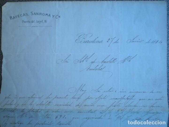 Cartas comerciales: BARCELONA MANRESA DOS BONITAS CARTAS COMERCIALES AÑO 1884 RAFECA SANROMÁ FÁBRICA DE HILADOS - Foto 2 - 196389007