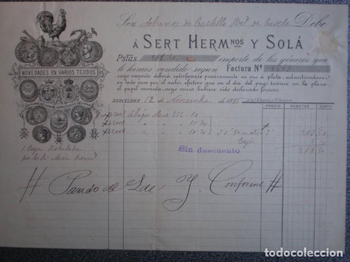 BARCELONA CARTA COMERCIAL MEMBRETE LUJO AÑO 1885 SERT HERMANOS Y SOLÁ TEJIDOS (Coleccionismo - Documentos - Cartas Comerciales)