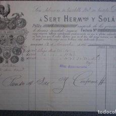 Cartas comerciales: BARCELONA CARTA COMERCIAL MEMBRETE LUJO AÑO 1885 SERT HERMANOS Y SOLÁ TEJIDOS. Lote 196389583