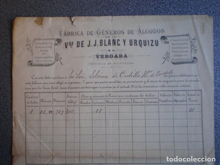 VERGARA GUIPUZCOA CARTA COMERCIAL LUJO AÑO 1886 SELLO Y FIRMA ALCLADE VDA J. J. BLANC Y URQUIZU (Coleccionismo - Documentos - Cartas Comerciales)