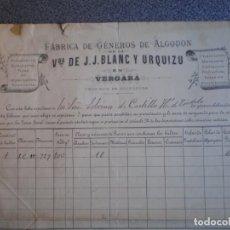Cartas comerciales: VERGARA GUIPUZCOA CARTA COMERCIAL LUJO AÑO 1886 SELLO Y FIRMA ALCLADE VDA J. J. BLANC Y URQUIZU. Lote 196389965