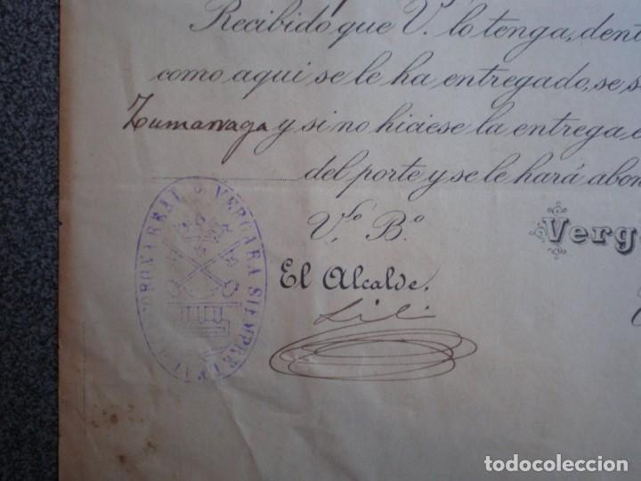 Cartas comerciales: VERGARA GUIPUZCOA CARTA COMERCIAL LUJO AÑO 1886 SELLO Y FIRMA ALCLADE VDA J. J. BLANC Y URQUIZU - Foto 2 - 196389965