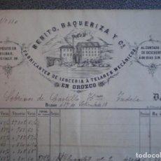 Cartas comerciales: OROZCO VIZCAYA DOS CARTAS COMERCIALES LUJO AÑO 1884 FÁBRICA DE LENCERIA BENITO BAQUERIZA. Lote 196447387