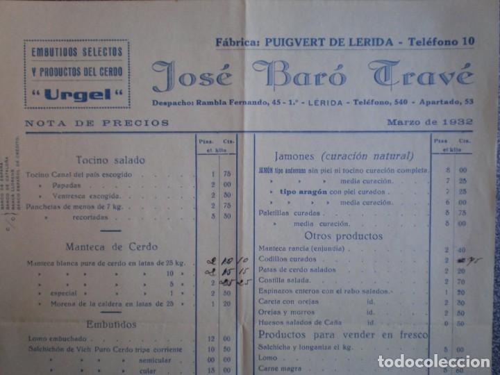 PUIGVERT DE LÉRIDA LISTADO PRODUCTOS Y PRECIOS Y CARTA COMERCIAL AÑO 1932 EMBUTIDOS JOSÉ BARÓ (Coleccionismo - Documentos - Cartas Comerciales)