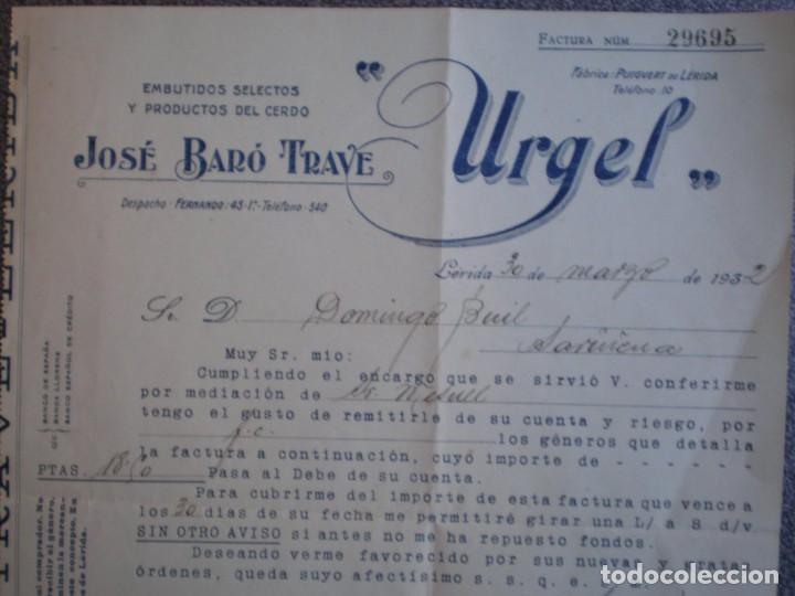Cartas comerciales: PUIGVERT DE LÉRIDA LISTADO PRODUCTOS Y PRECIOS Y CARTA COMERCIAL AÑO 1932 EMBUTIDOS JOSÉ BARÓ - Foto 2 - 196456355