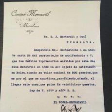 Cartas comerciales: (M2) CASINO MERCANTIL DE BARCELONA 1883 - COTIZACIÓN EN BOLSA DE 500 PESETAS. Lote 197519801