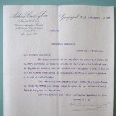 Lettres commerciales: CARTA COMERCIAL. ANTONIO CASAS Y CIA. IMPORTADORES. GUAYAQUIL 1915. GUTIERREZ HERMANOS. JEREZ. Lote 197537106