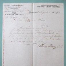 Lettres commerciales: CARTA COMERCIAL. PARODI BRUZZONE Y CIE. MEDICINAS Y PATENTES. GUAYAQUIL 1903. GUTIERREZ HERMANOS. Lote 197619642