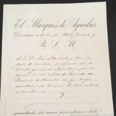Cartas comerciales: (M2) MADRID 1885 EL MARQUÉS DE AGUILAR, NOMBRAMIENTO DIRECTOR GENERAL AGRICULTURA. Lote 197715370