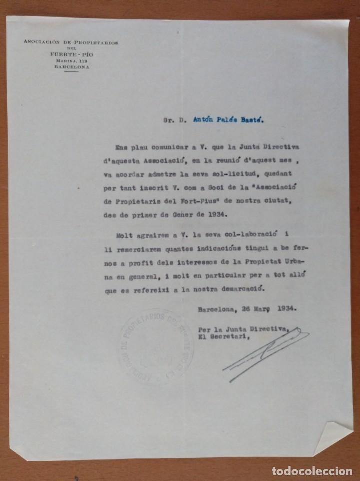 CARTA ASOCIACION DE PROPIETARIOS DEL FUERTE-PIO BARCELONA 1934 (Coleccionismo - Documentos - Cartas Comerciales)