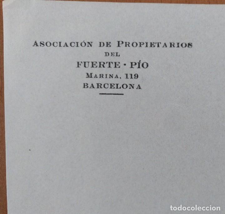 Cartas comerciales: CARTA ASOCIACION DE PROPIETARIOS DEL FUERTE-PIO BARCELONA 1934 - Foto 2 - 198030272