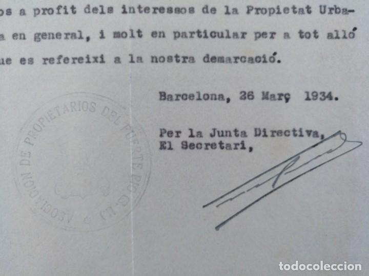 Cartas comerciales: CARTA ASOCIACION DE PROPIETARIOS DEL FUERTE-PIO BARCELONA 1934 - Foto 3 - 198030272