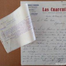 Cartas comerciales: CARTA PAÑOS DRILES Y FORRERIA LAS CUARENTA BARCELONA 1927 FABRICA EN CASTELNOVO. Lote 198031966